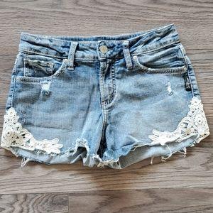 Silver Suki Denim Jean Shorts Lace inset Sz 25
